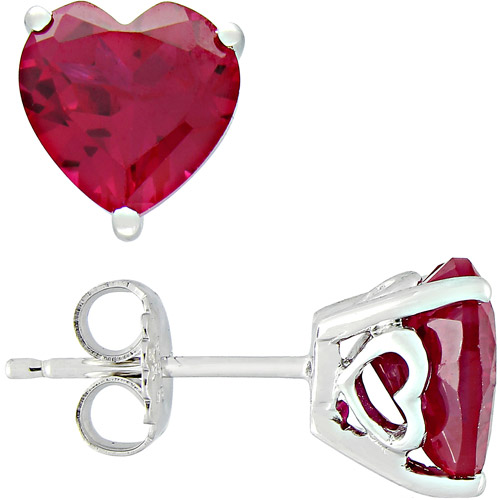 5.68 Carat T.G.W. Heart-Shaped Ruby Sterling Silver Earrings
