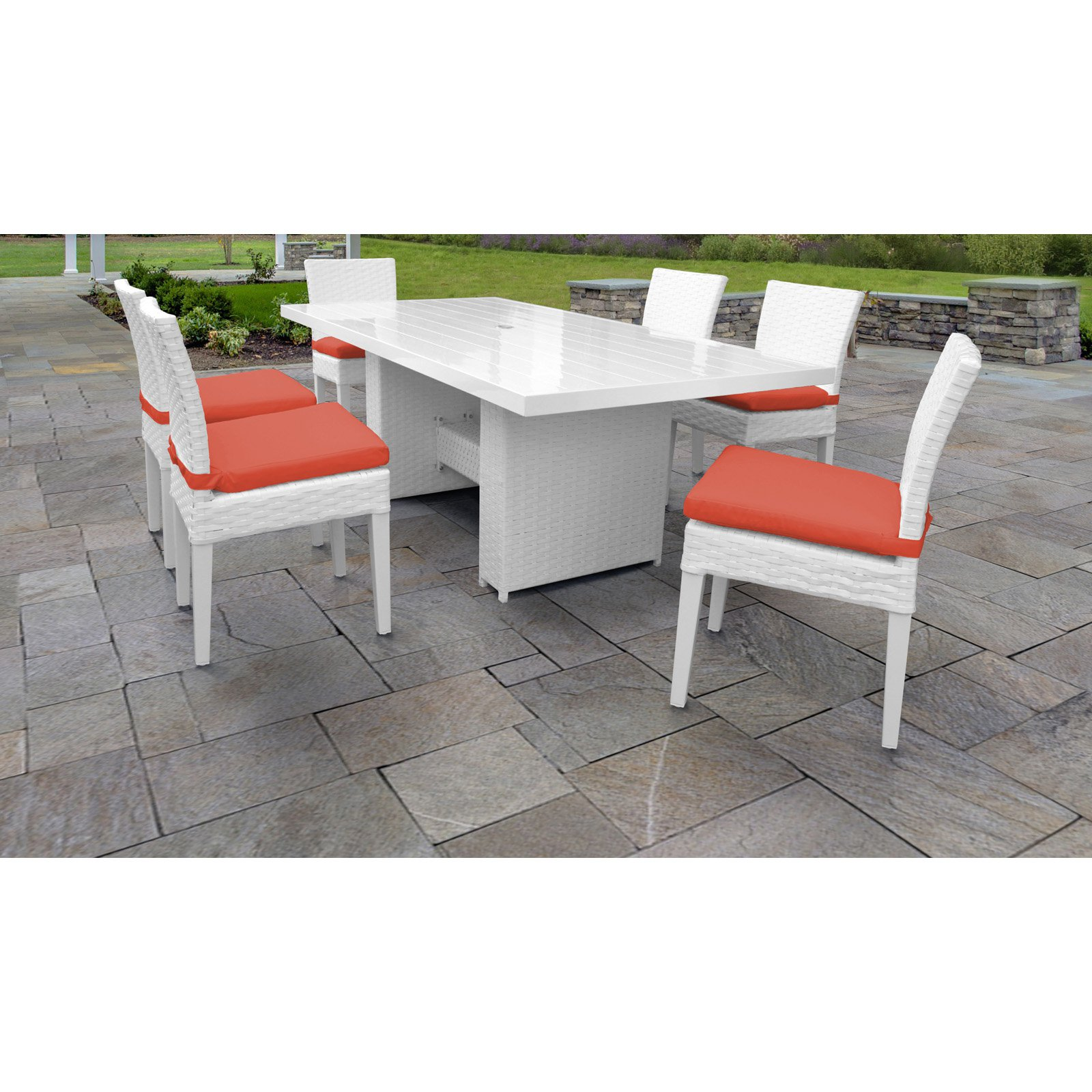 TK Classics Monaco Wicker 7 Piece Patio Dining Set with Armless Chairs