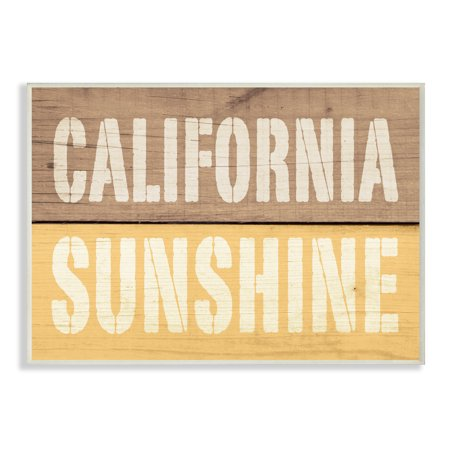 The Stupell Home Decor Collection California Sunshine Distressed Wood Typography Wall Plaque Art, 10 x 0.5 x 15 (Sun Wall Plaque Decor)