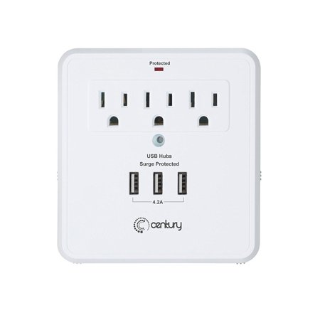 Century 3 Outlet Wall Mount Surge Protector Adapter with 3 USB Charging Ports (4.2A) -