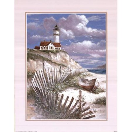 Lighthouse With Deserted Canoe Poster Print by T.C. Chiu (22 x 28)