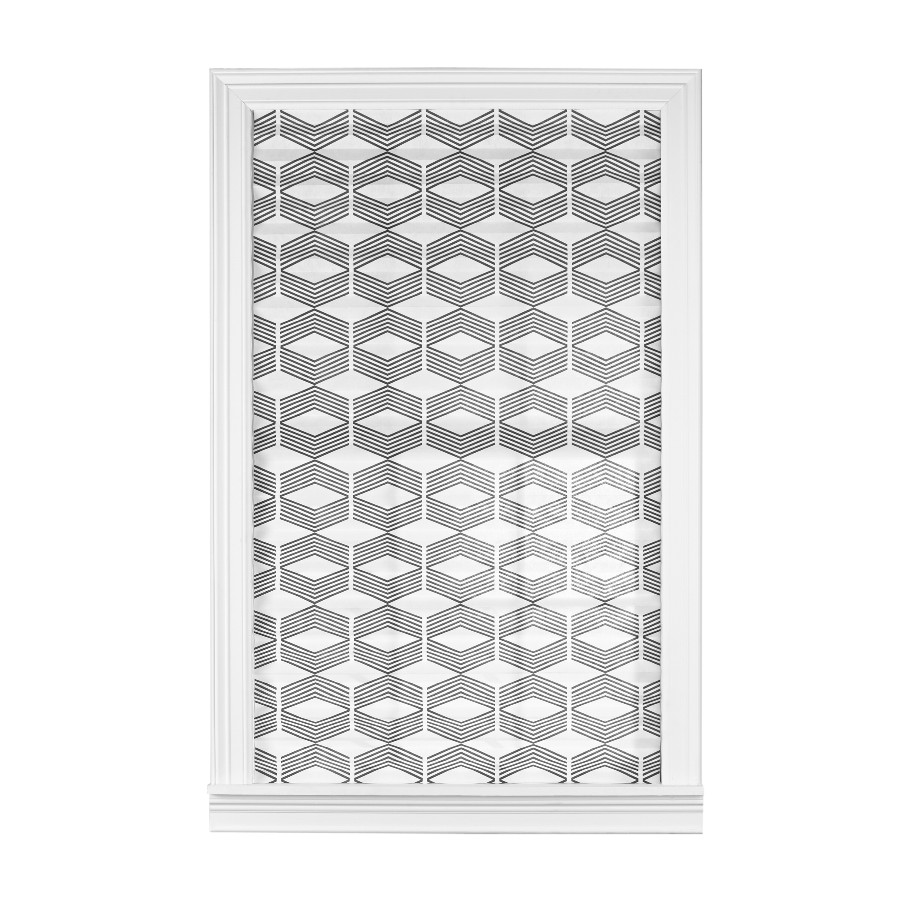 """Mainstays Light Filtering Pleated Window Shade, Geometric, White with Black, 36""""x72"""""""
