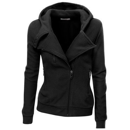 Doublju Women's Women's Fleece Casual Zip-Up High Neck Hoodie Jacket BLACK (Neck Tweed Jacket)