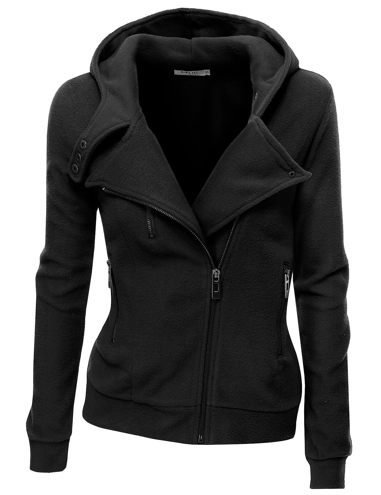 Doublju Women's Women's Fleece Casual Zip-Up High Neck Hoodie Jacket BLACK S