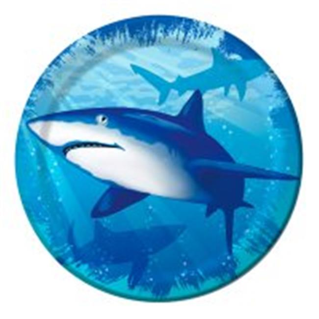 Creative Converting 415887 Shark Splash - 7 in. Lunch Plates - Case of 96