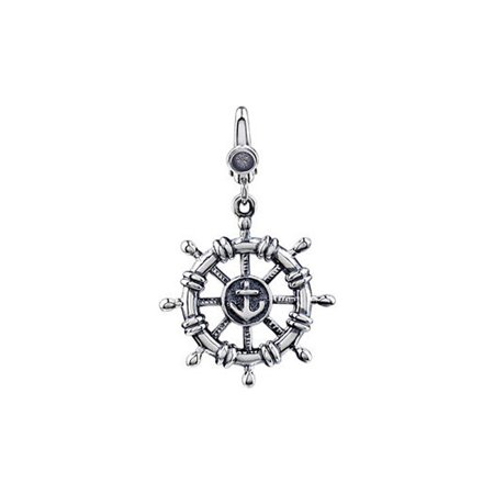 Sterling Silver  Antiqued 3D Ships Wheel Clip On Bead Charm