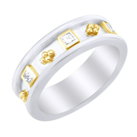 (White Natural Diamond Etruscan Style Band Ring in 14k White Gold (0.33 Ct)by Jewel Zone US)