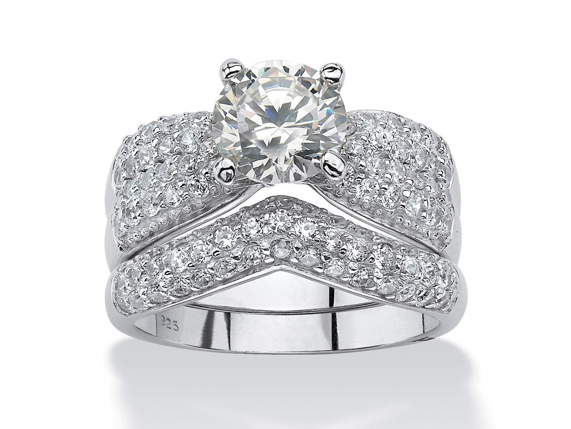 3.20 TCW Cubic Zirconia Platinum over Sterling Silver Wedding Ring Set by PalmBeach Jewelry