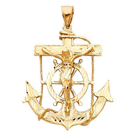 Solid 14k Yellow Fine Gold Jesus Cross Mariner Charm Anchor Crucifix Pendant 6 Sizes