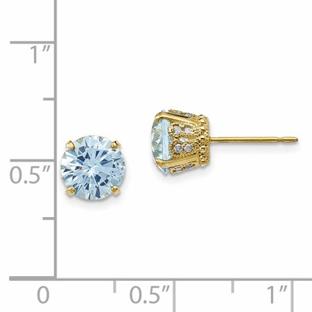 10K Yellow Gold Tiara Collection Diamond Lab Created Aquamarine Post Earrings - image 2 de 2