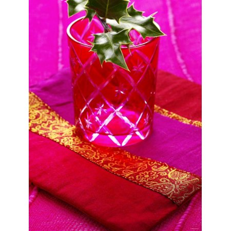 Sprig of Holly in Festive Red Glass on Cushion Print Wall Art By Joff Lee
