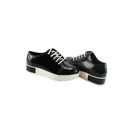 Croc Trainer (Liyu Adult Black Croc Pattern Plain Cap Toe Lace-Up Oxford)