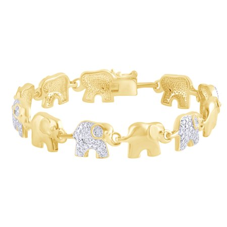 Round Shape White Natural Diamond Elephant Link Tennis Bracelet In 14k Yellow Gold Over Sterling Silver (0.02 cttw) - 8.5