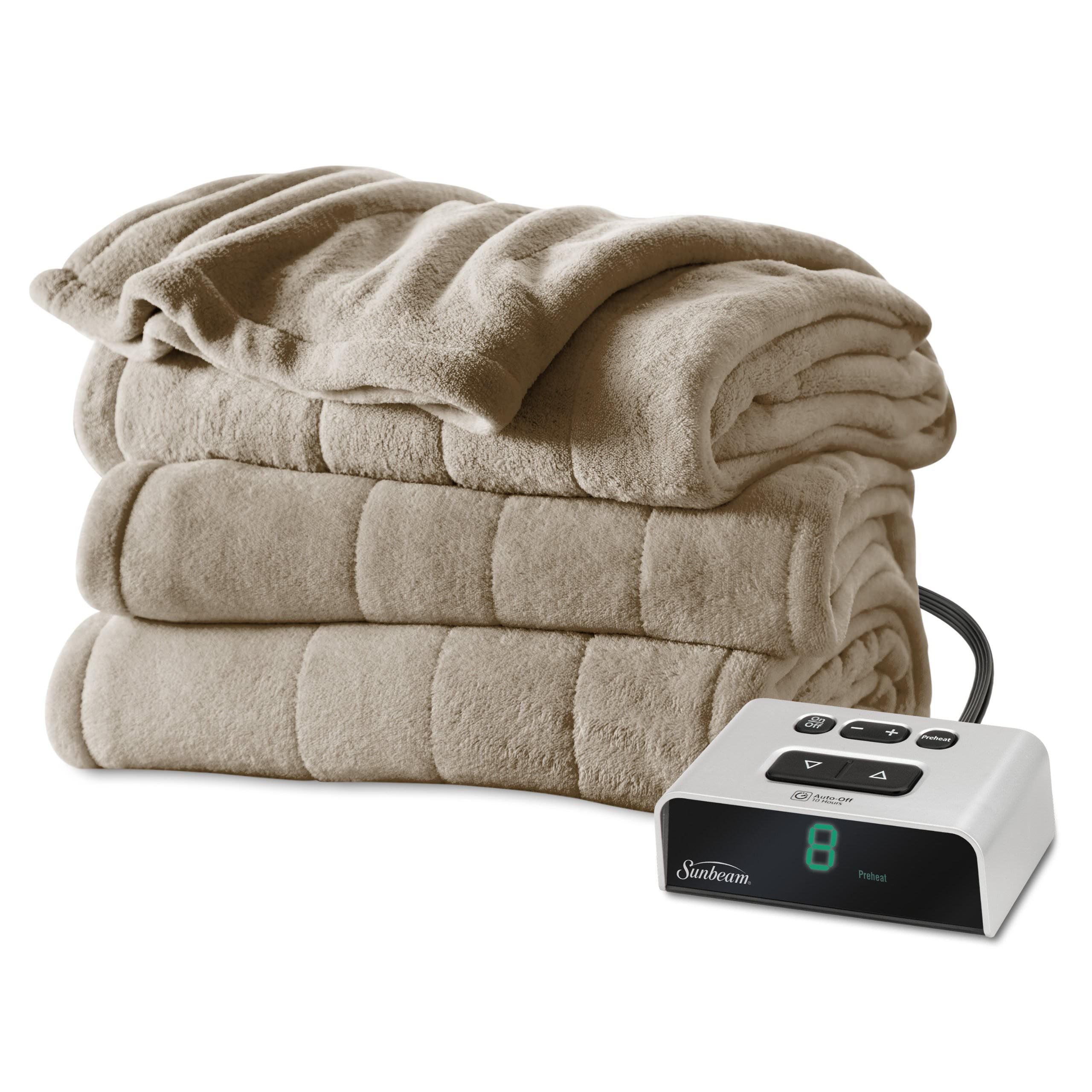 Sunbeam Electric Heated Microplush Channeled Blanket, Twin, Beige