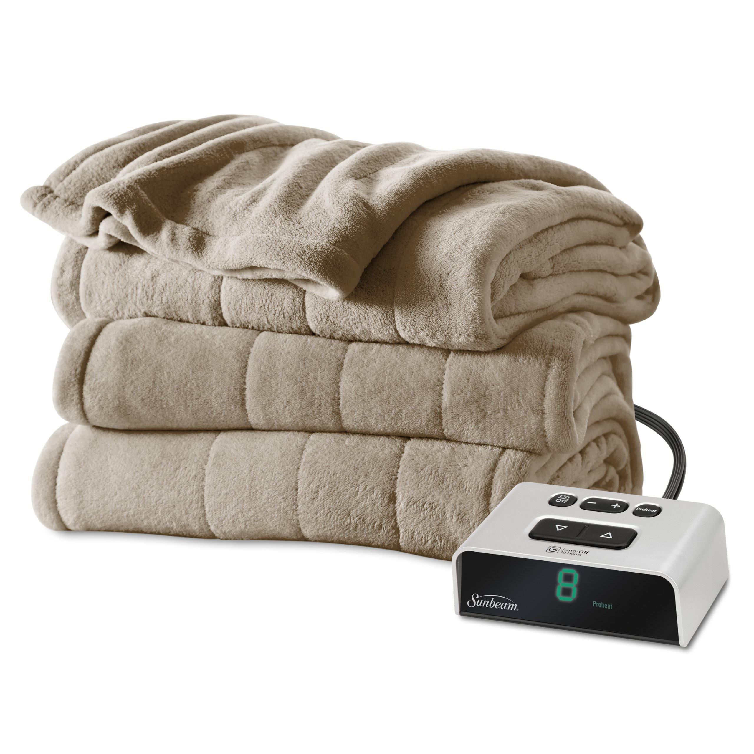 Sunbeam Electric Heated Microplush Channeled Blanket