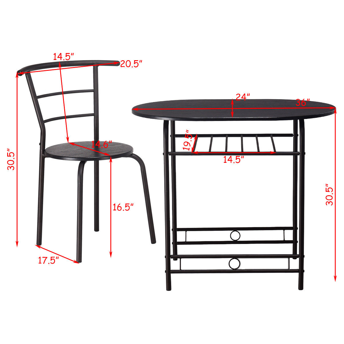 b970338ca 3PCS Dining Set Table and 2 Chairs Home Kitchen Breakfast Bistro Pub  Furniture