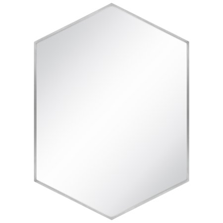 Best Choice Products Modern Hexagonal Wall-Mounted Mirror, Silver Lining ()