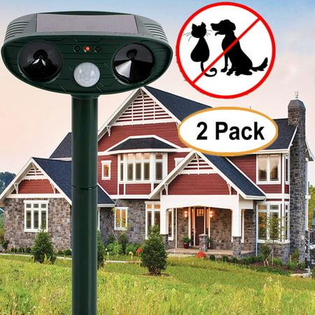 (2Pcs Solar Ultrasonic Dog Cat Animal Repeller Outdoor Yard Garden Scarer Repellent Deterrent)