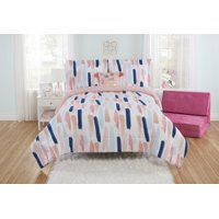 Mainstays Painterly Strokes Comforter Set with Tasseled Pillow, Full/Queen