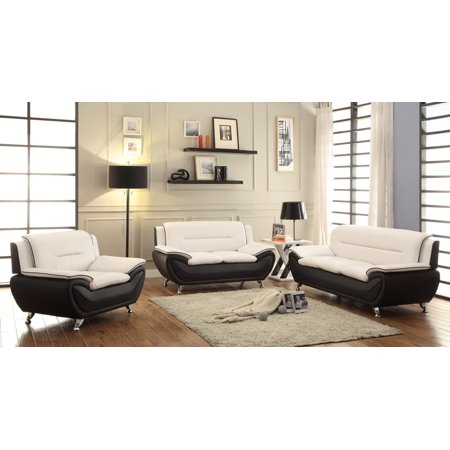 Series Leather Living Room (Norton Beige/Black Faux Leather 3 PC Modern Living Room Sofa set)