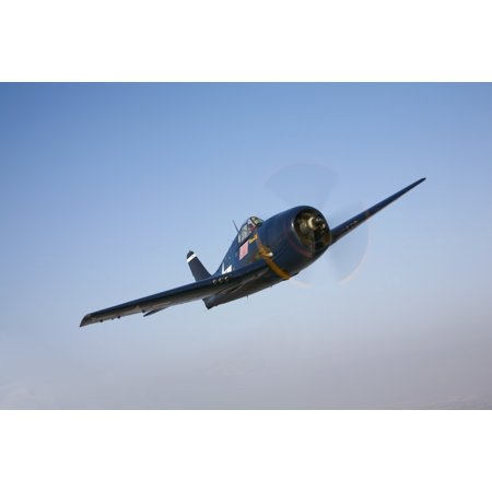 Commemorative Poster (The Commemorative Air Forces F6F-5 Hellcat in flight near Chino California Poster Print )
