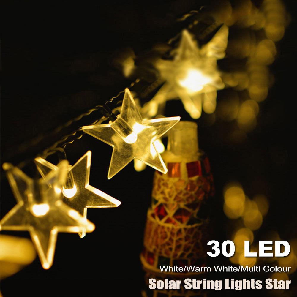 30 LED Solar Fairy String Lights Star Garden Outdoor Deco Party White Warm
