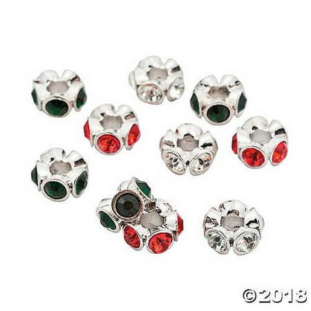 Rhinestone Christmas Large Hole Beads - 13mm x 4mm