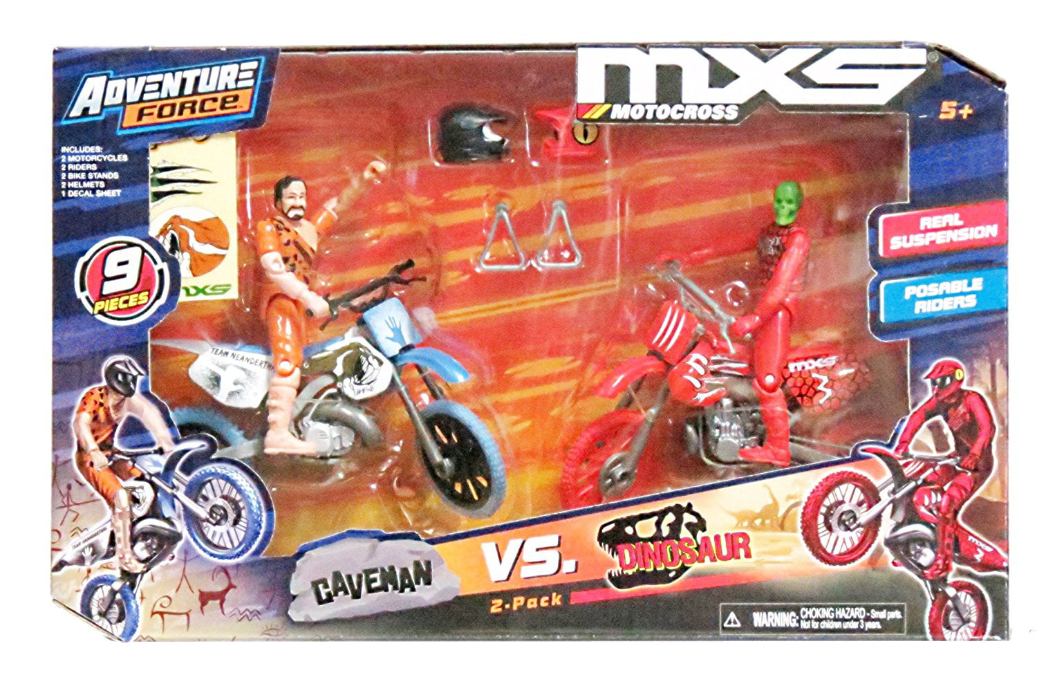 MXS MotoCross Extreme Sports Caveman VS Dinosaur Bikes & Figures 9 pieces, bikes feature real sound effects,... by