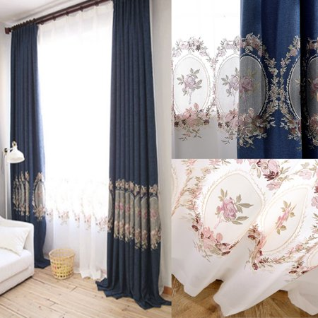European-style Cotton Embroidered Mirror Flower Curtains homecurtain bedroom Living room Full Shade(2*Shading Curtains+2 Transparent Curtains)