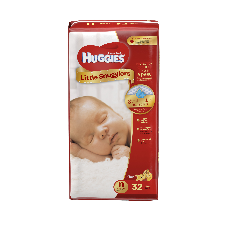 HUGGIES Little Snugglers Diapers, Newborn, 32 Diapers