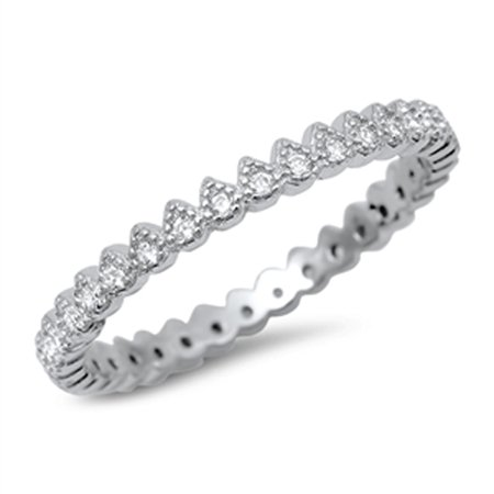 Eternity White CZ Beautiful Ring .925 Sterling Silver Stackable Band Size 5
