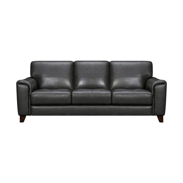 Bergen 87 Pewter Genuine Leather, Square Arm Leather Sofa
