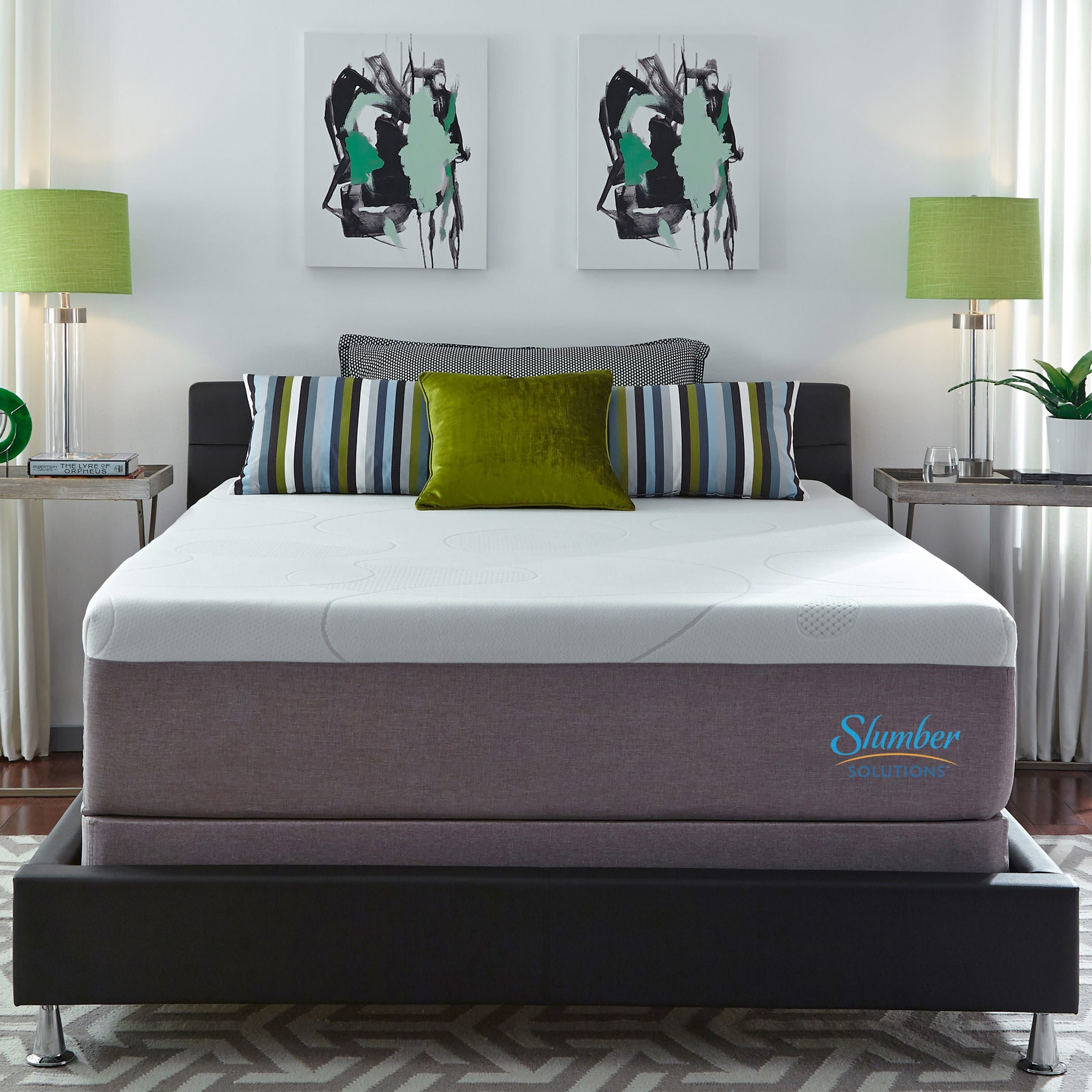 Slumber Solutions Gel Memory Foam 14 inch Queen size Mattress Set