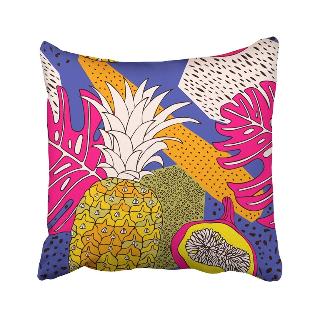 BPBOP Colorful Fresh Floral Pattern Tropical Leaves And Fruits Exotic Yellow Island Vintage Pillowcase Throw Pillow Cover Case 16x16 inches