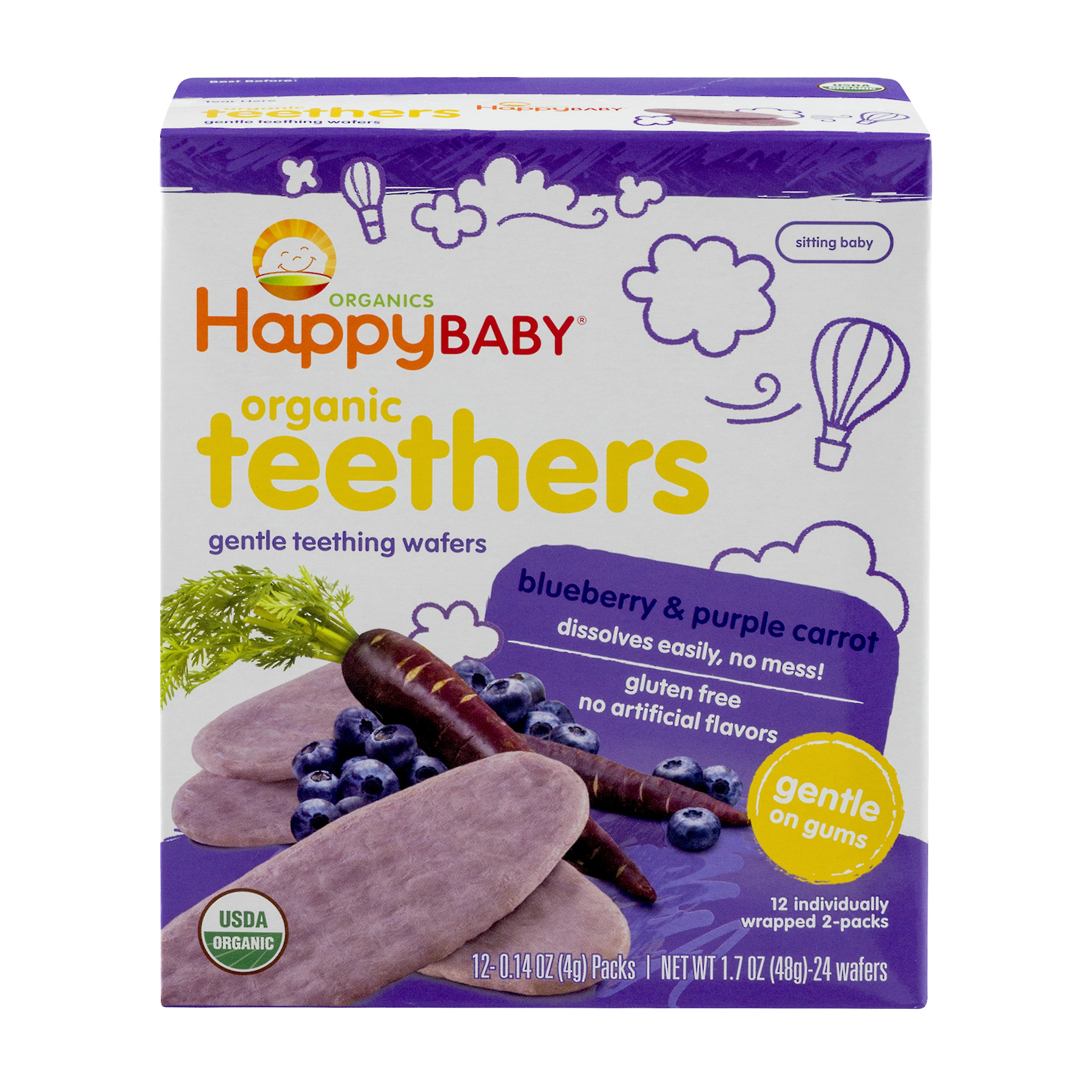 HappyBaby Organics Organic Teethers Blueberry & Purple Carrot - 12 PK, 0.14 OZ