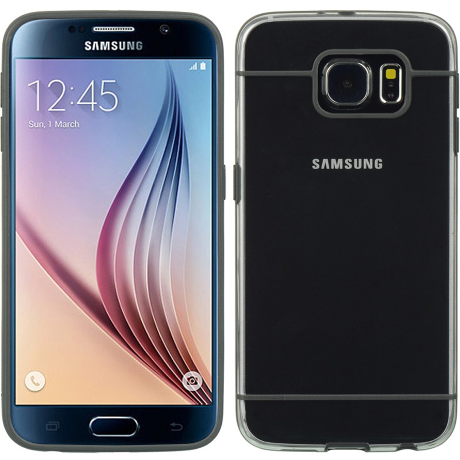Insten Hard Plastic/Soft TPU Rubber Case Cover For Samsung Galaxy S6 SM-G920, Gray/Clear