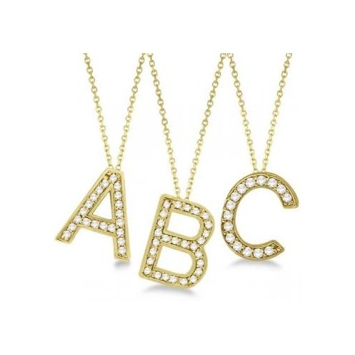 Seven Seas Jewelers Womens Personalized Diamond Block Letter Initial Pendant Necklace in 14k Yellow Gold by Brand New