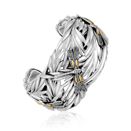 Dragonfly Cuff Bracelet - 18K Yellow Gold and Sterling Silver Thick Cuff with Leaf and Dragonfly Motifs