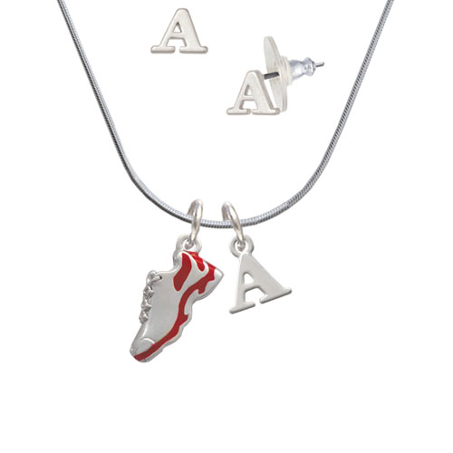 Red Running Shoe - A Initial Charm Necklace and Stud Earrings Jewelry Set