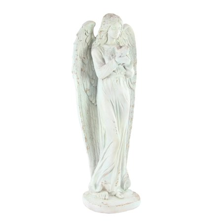 Angel Wall Sculpture (Decmode Traditional 47 X 18 Inch Standing Angel Polystone Sculpture )