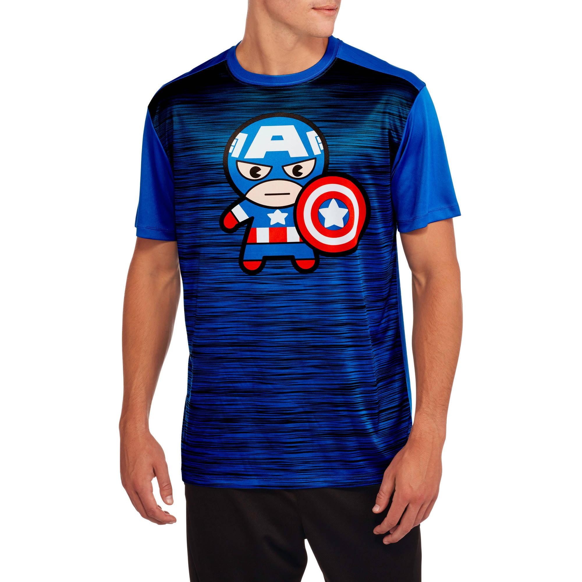 Captain America Kawaii Big Men's Graphic Poly Tee