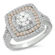Dazzlingrock Collection 1.45 Carat (Ctw) Two Tone Rose Gold Plated 14K Round Diamond Halo Ring 1 1/2 CT, White Gold, Size 4