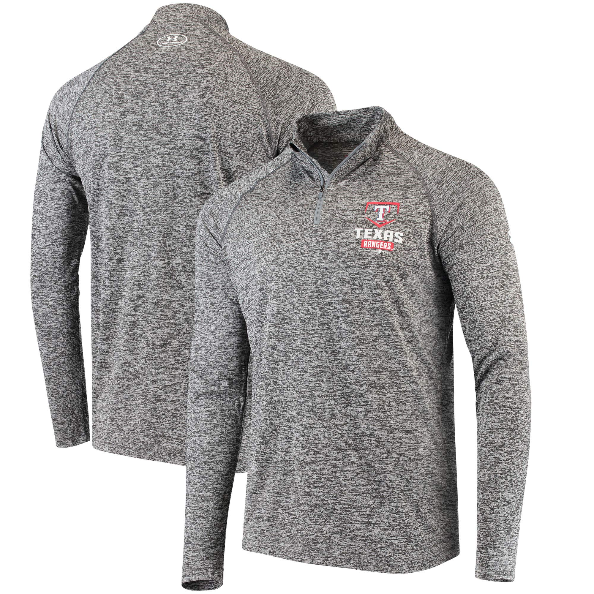Texas Rangers Under Armour Tech Quarter-Zip Performance Pullover - Charcoal