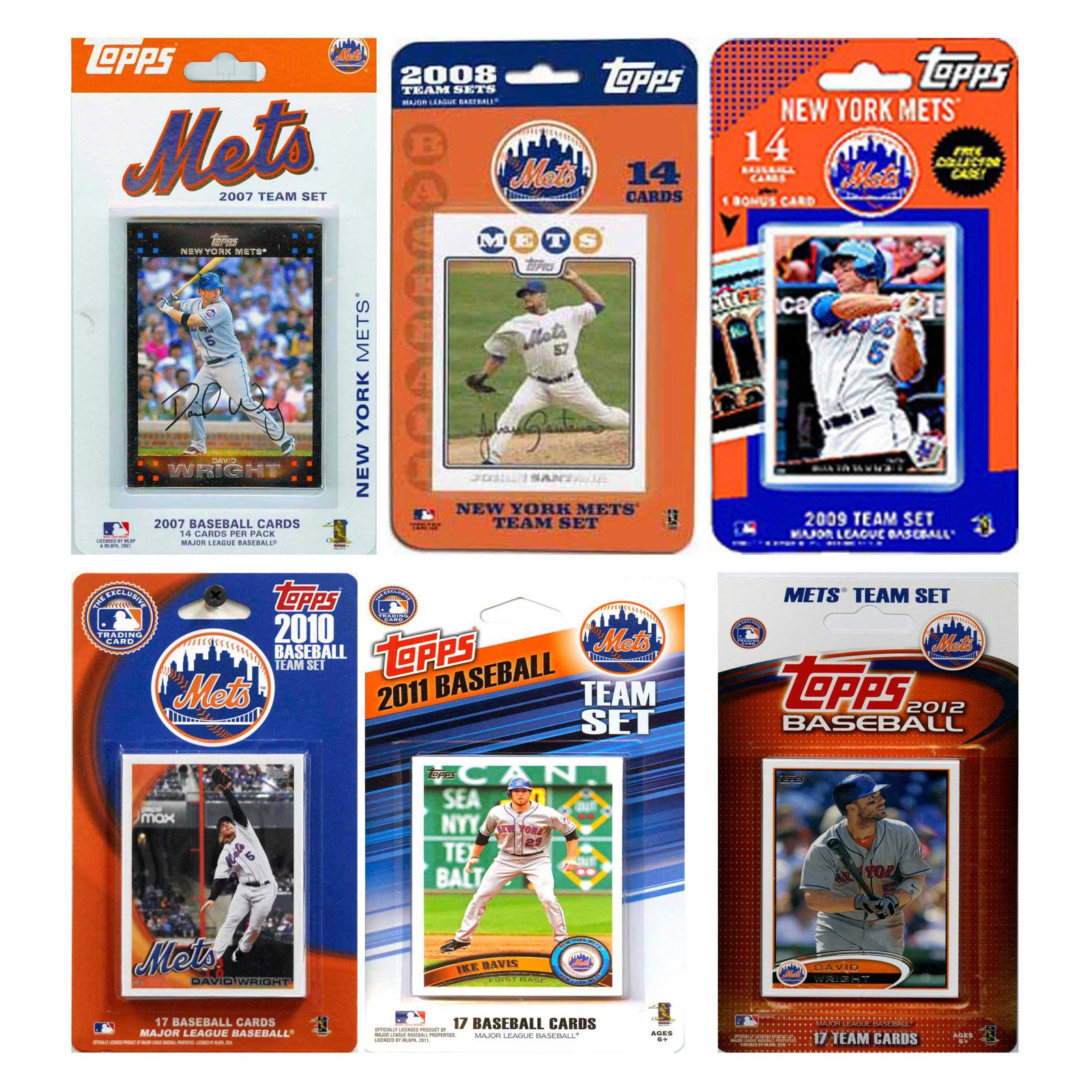 MLB New York Mets 6 Different Licensed Trading Card Team Sets