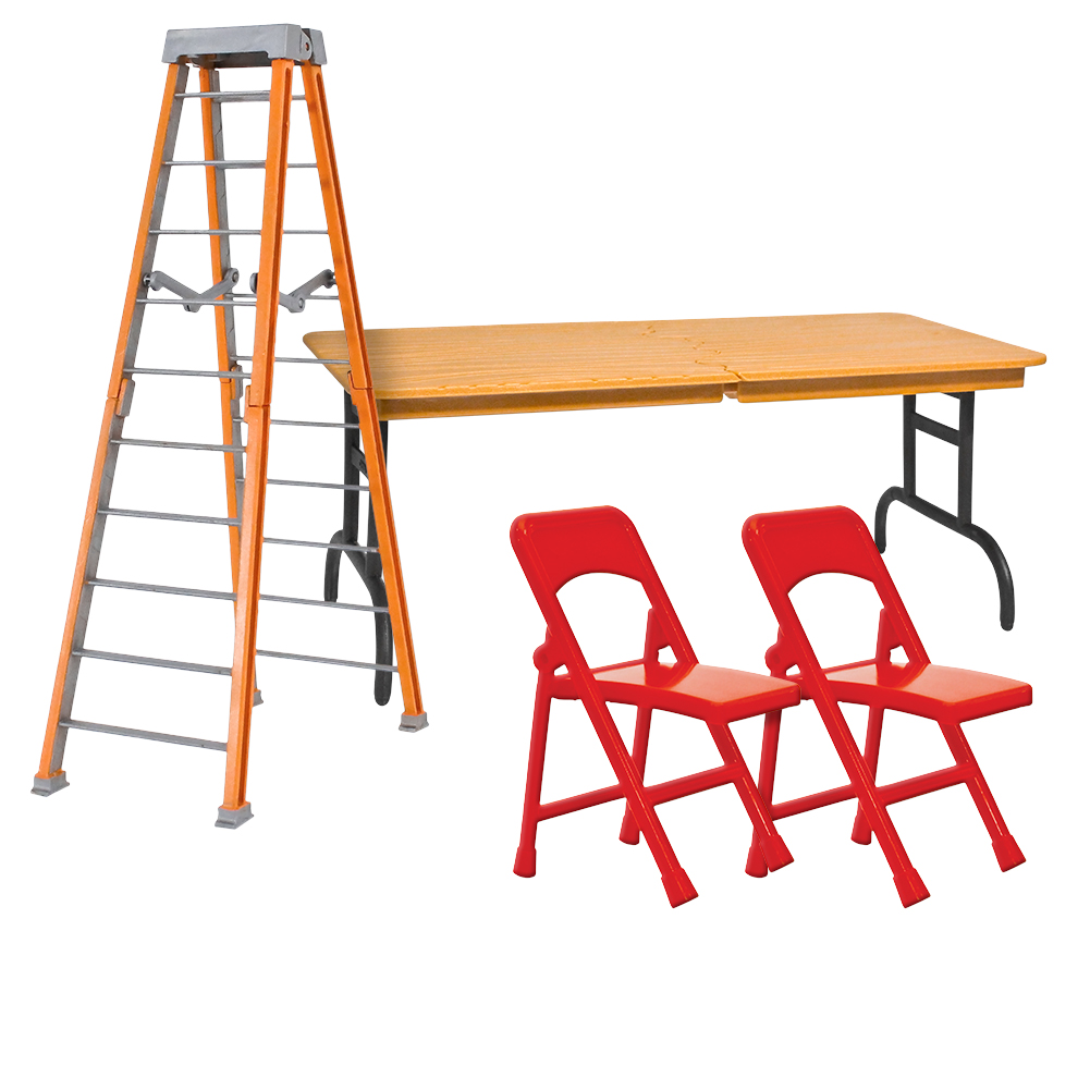 ULTIMATE Ladder, Table & Chairs Orange Playset for WWE Wrestling Action Figures