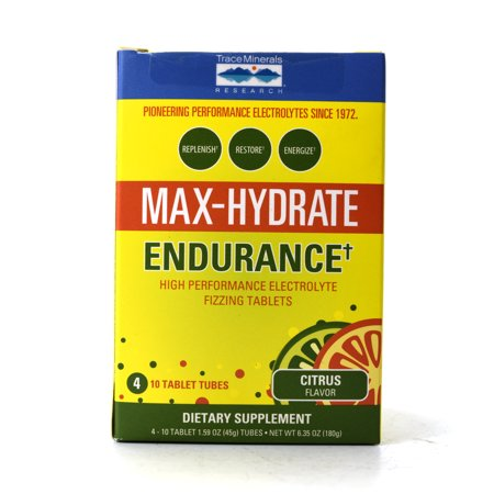Trace Minerals Max-Hydrate Endurance High Performance Electrolyte Fizzing Tablets Citrus Flavor - 4 Tubes of 10 Tablets Each