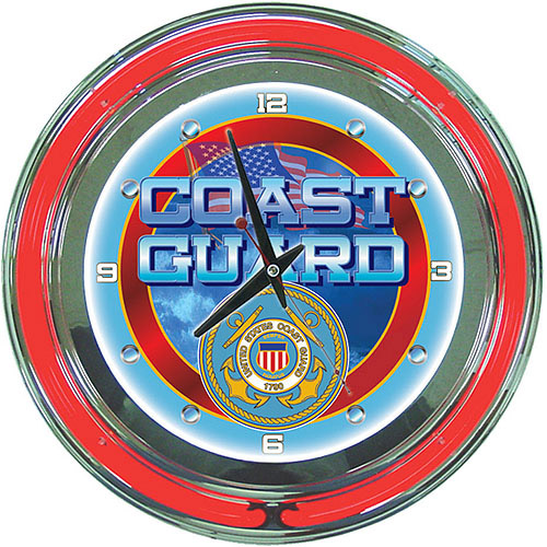 "United States Coast Guard 14"" Neon Clock"
