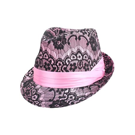 Lace Top Women's Fedora Hat](Pink Fedora)