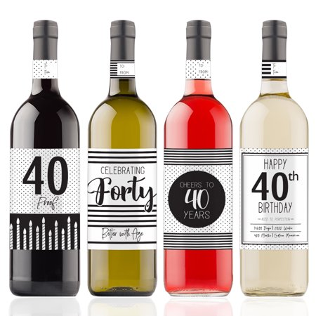 40th Birthday Wine Bottle Stickers, 4ct - Black and White Stripe and Polka Dot Birthday Party Supplies - 4 Wine Labels with Gift Tags