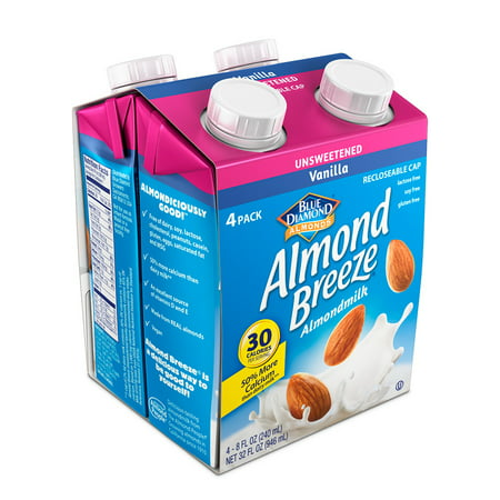 Almond Breeze Almond Milk, Unsweetened Vanilla 8 oz, 4